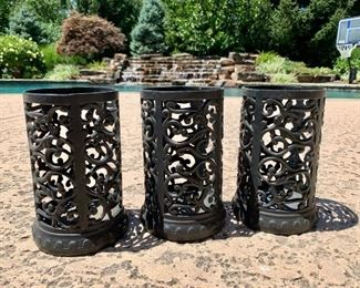 """$28 - Set of 3 Candle Holders - Measures 5"""" diameter x 9"""" tall."""