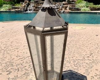 """$28 - Pottery Barn Lantern - Measures 9"""" wide x 21"""" tall."""