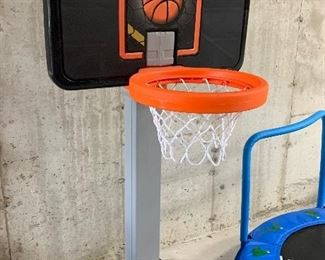 "$28-Fisher-Price adjustable hoop. Measures 29""L x 39""W x 66""H."