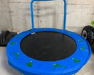 "$30-Mini trampoline measures 49"" in diameter.  Handle is 32"" high."