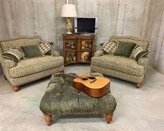 """$450-Oversized comfy chair pair.  Measures 47""""L x 38""""W x 38""""H. $40 as is-Ottoman measures 38""""L x 38""""W x 16""""H."""