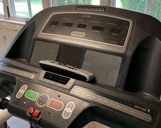 Close up of treadmill dashboard.
