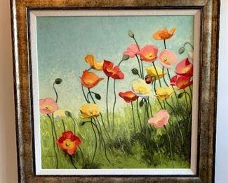"""$48-Poppy Art. Measures 30"""" x 30""""."""