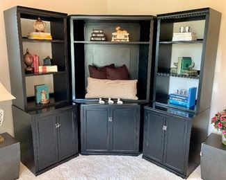 """$550-Three piece shelving unit.  Side pieces measure 24""""L x 23""""W x 74""""H. Middle section is 31""""L x 23""""W x 74""""H.  Originally purchased for $1800."""