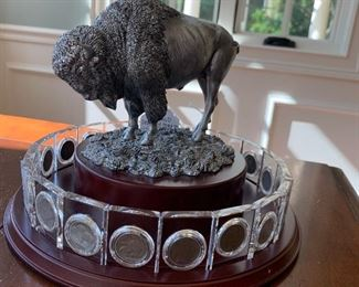 """$400 - Buffalo Display Stand with Collections of 20 Buffalo Nickels - Measures 10"""" diameter x 7"""" tall."""