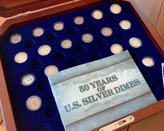 $250 - Collection of U.S. Silver Dimes with Case - Set of 18