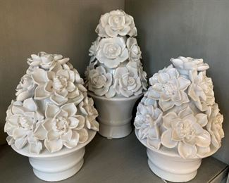 """$30 - Set of 3 - Ceramic White Floral Trees - Smaller trees are 7"""" tall and tall tree is 9"""" tall."""