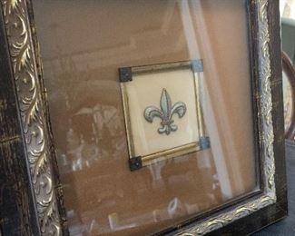 """$40 - Framed Fleur de Lis - Measures 13"""" x 13"""""""
