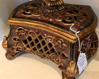 "$70 - Intricate Decorative Storage Box - Measures 14"" x 11"" x 9""."