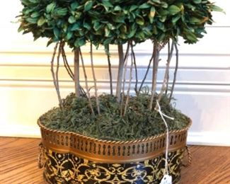 """$40 - Faux Topiary with Black and Gold Trim - Measures 8.5"""" wide x 12"""" tall."""