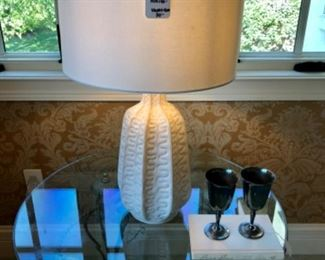 """$90 - White Table Lamp - Measures 16"""" Diameter x 27"""" Tall - Originally purchased for $150."""