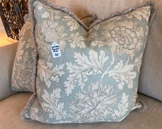 """$40 PAIR - Custom Floral and Leaf Pillows - Measures 18"""" x 18""""."""