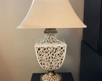 """$100 - White Scroll Lamp - Shade measures 16"""" x 16"""" and lamp measures 33"""" tall."""