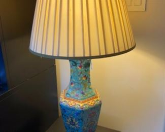 """$40 - Colorful Floral Lamp with Shade - Measures 30"""" Tall."""