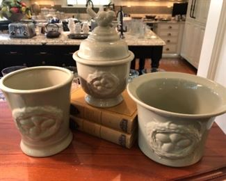 $60 - Sage Green Pot Set with Bird and Eggs Embossed