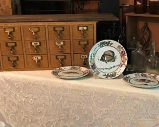 Vintage library card file, antique & vintage bottles, decorative fish plates
