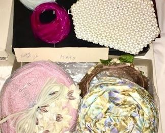 Vintage hats & purses, beaded purse is SOLD
