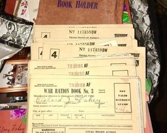 WWII Ration Books and holder