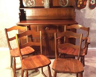 Hutch cabinet with four matching chairs