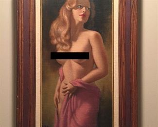 Original vintage pin-up art oil painting of partially clad woman, framed