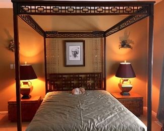 FOUR POSTER CANOPY BED,  Asian style, made of fruitwood with open geometric design to the headboard, thinner style posts and lovely pierced canopy frame. The bottom corners have geometric bracket accents and the bed includes slat boards to hold the mattress. With mattress and box spring.