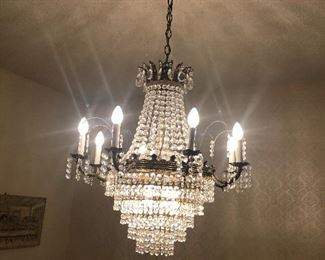 majestic crystal chandelier- for sale- must arrange to pick up after the estate sale is over -statement piece for sure