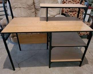 Metal Framed Desk with Laminate Shelves.