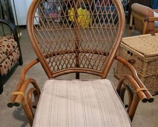 PT Sandi Furni Made in Indonesia Wicker Back Chair with Striped Cushion