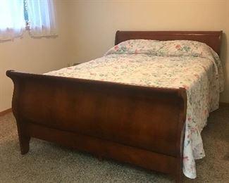Cherry Sleigh Bed