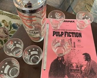 Vintage Martini Set & Pulp Fiction Manuscript