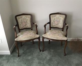 Pair Courting Couple Antique Arm Chairs
