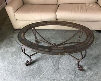Oval Metal and Glass Coffee Table w/tile design under glass