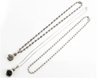 4. Three 3 Vintage Sterling Silver Necklaces with Pendants  Graduated Beads