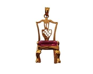 8. 14K Gold Chair Crystal Pendant