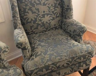 $235 Each Wingback Chair with Elephant Print Upholstery