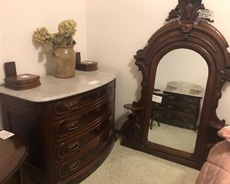 Walnut and Marble Topped Dresser with Mirror