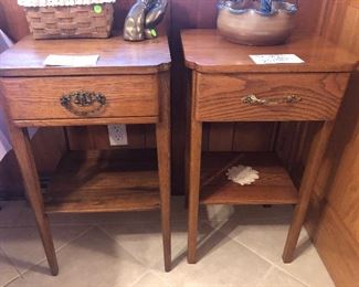 Oak Square Tables with Drawer
