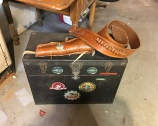 Gerstner tool box and leather gun belt