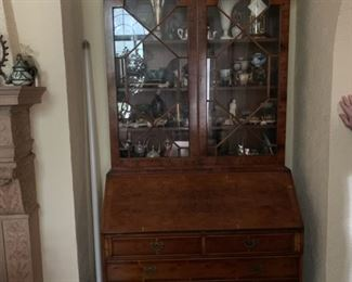 antique, inlaid secretary desk