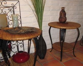 Pair wicker/rattan iron end tables with matching sofa table