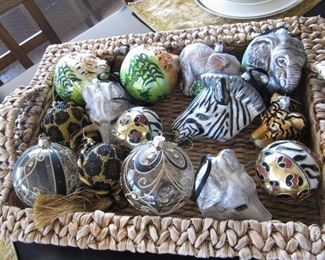 Unique wild animal hand blown Christmas ornaments -