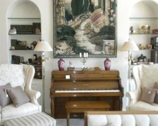 VINTAGE PIANO & WING BACK CHAIRS