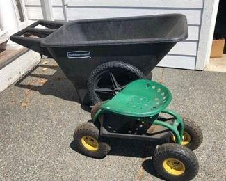 Mobile Rolling Work Seat for Garden & Rubbermaid Wheelbarrow
