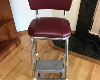 Vintage Chrome Chair with Step Stool