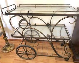 Vintage Triple Shelf Metal and Glass Bar Cart