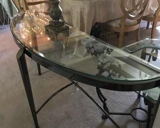BEAUTIFUL METAL AND GLASS ENTRY TABLE  OR SOFA TABLE!