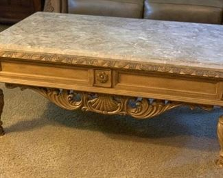 Ashley Furniture Traditional Wood Marble Coffee Table	21x32x54in	HxWxD