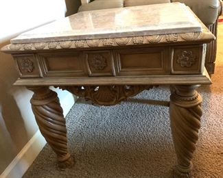 Ashley Furniture Traditional Wood Marble End Table	27x28x28in	HxWxD