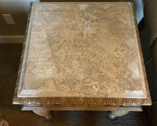 Ashley Furniture Traditional Wood Marble End Table27x28x28inHxWxD