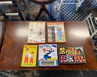 c.1950-60's, Paper Dolls w/outfits, Liddle Kiddles Dress-Up Kit (Never Used!), RARE~Mary Poppins Numbered Pencil Coloring Set, and Magic Rub-Ons Bozo the Clown